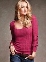 Victoria  pullovers women cotton V O button neck slim basic thin autumn winter spring fashion brand high quality slim sweaters(China (Mainland))