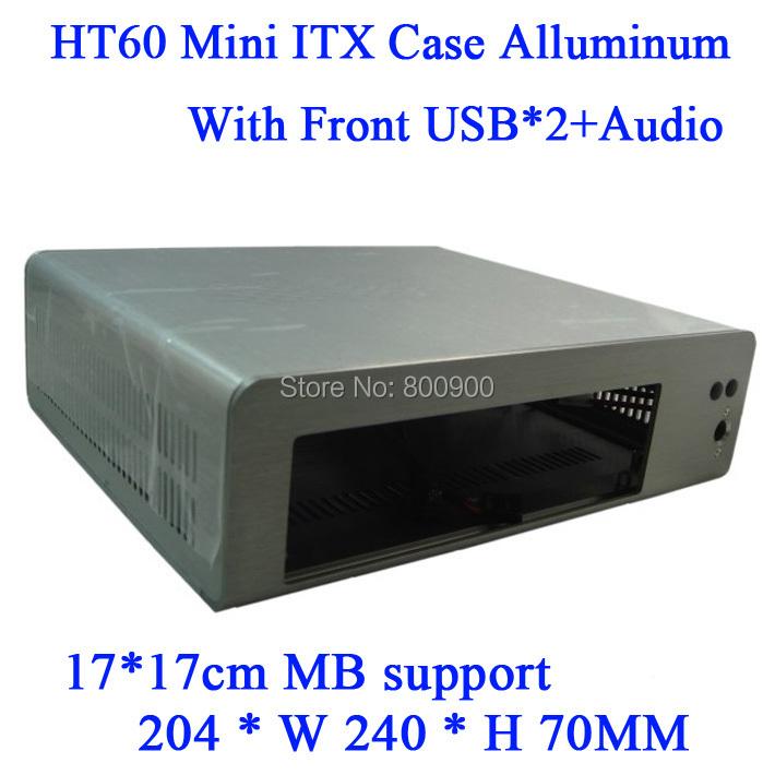 min itx case server high New HT60 small all-aluminum computer chassis MINI ITX HTPC motherboard Celeron 1037U iron gray(China (Mainland))