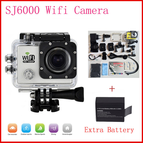 """SJ6000 WiFi Action Cameras 1080P Full HD 30FPS 2.0""""LCD Waterproof Sports Camera Video Camcorders With a Extra Battery Not Sj4000(China (Mainland))"""