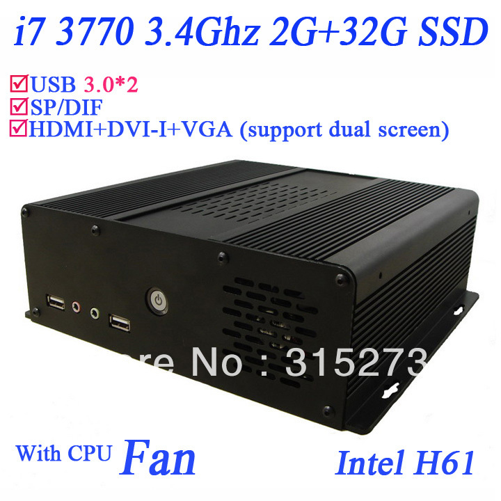 Best Sell i7 mini pc with Intel quad core 3770 3.4GHz 2G RAM 32G SSD windows 7 english 64 bit installed cracked version(China (Mainland))
