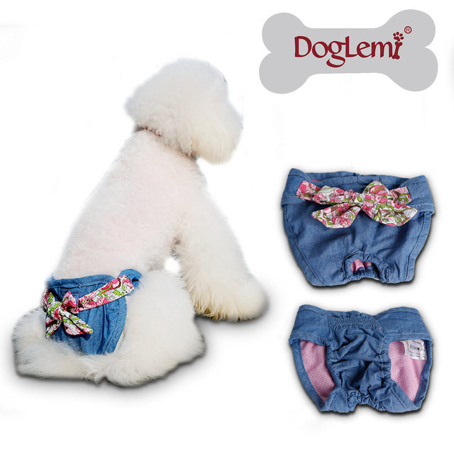 2015 small pet dog diapers female dog diapers cotton material washable dog  jeans pants