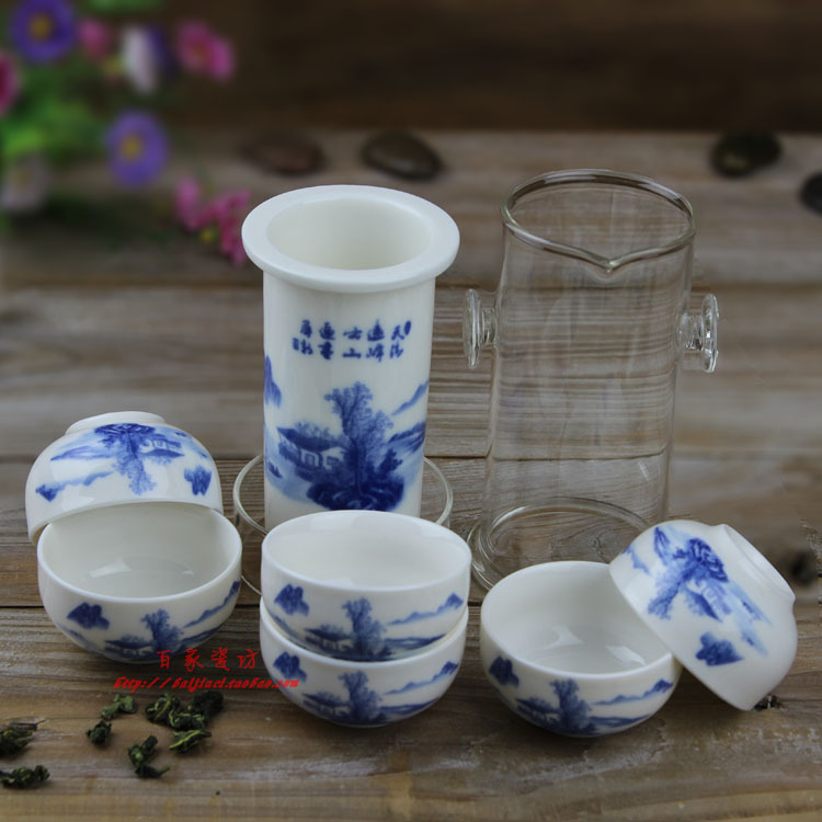 SET pot 6cups Blue and white porcelain Large tea device black tea set glass ceramic tea