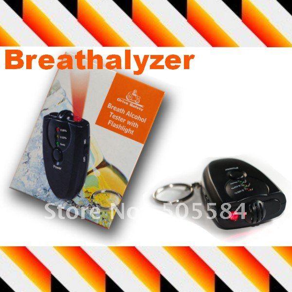 10pcs Mini Breath Alcohol Tester Breathalyzer LED Flashlight Keychain design , Retail box(China (Mainland))