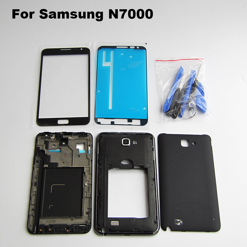 Full Housing Middle Frame Bezel Back Cover Case Chassis Samsung galaxy Note N7000 I9220 + Front Outer Glass Lens Tools - Cell Phone Repair store