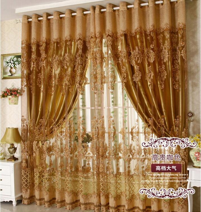 Free shipping Luxury fancy design sheer curtain panel with blackout ...