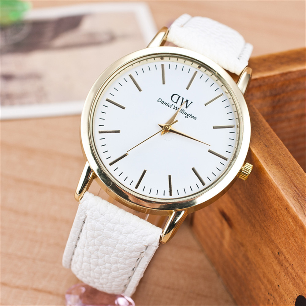 Casual fashion women major suit quartz watch marble mirror leather strap DW fashion personality Clock watch Relogio(China (Mainland))