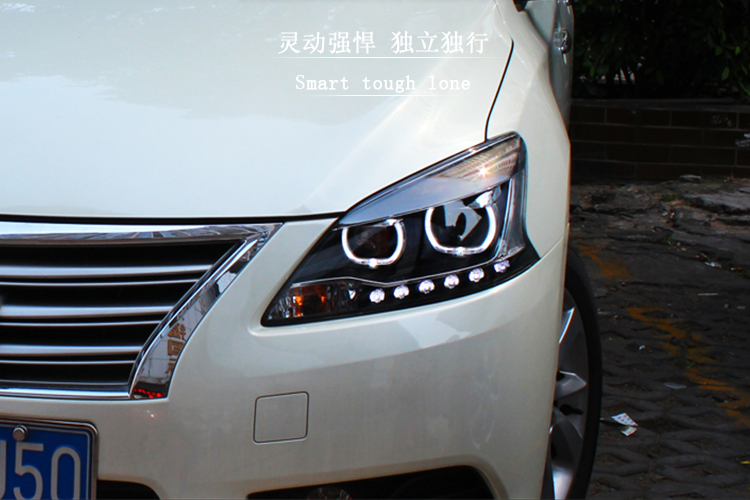 Auto Clud Car Styling for Nissan Sylphy LED Headlight Sentra LED Headlight DRL Lens Double Beam H7 HID Xenon bi xenon lens