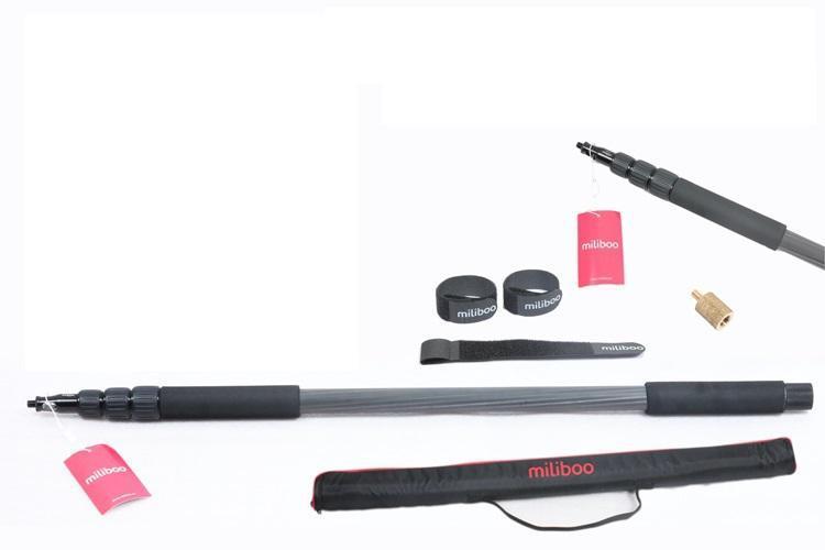 Miliboo portable carbon fiber 4 sections microphone pole Handheld Grip Support Rod Flash Light Boom microfonos de pertiga Holder