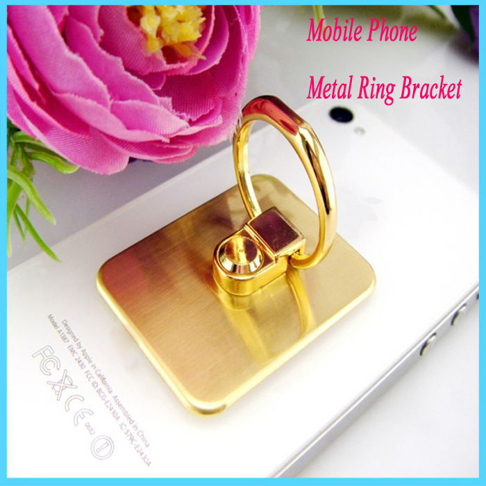 Golden Metal Sticky Mobile Phone Ring Stand Mount Holder 360 degree Rotating Finger Bracket for Iphone PDA Tablet PC(China (Mainland))