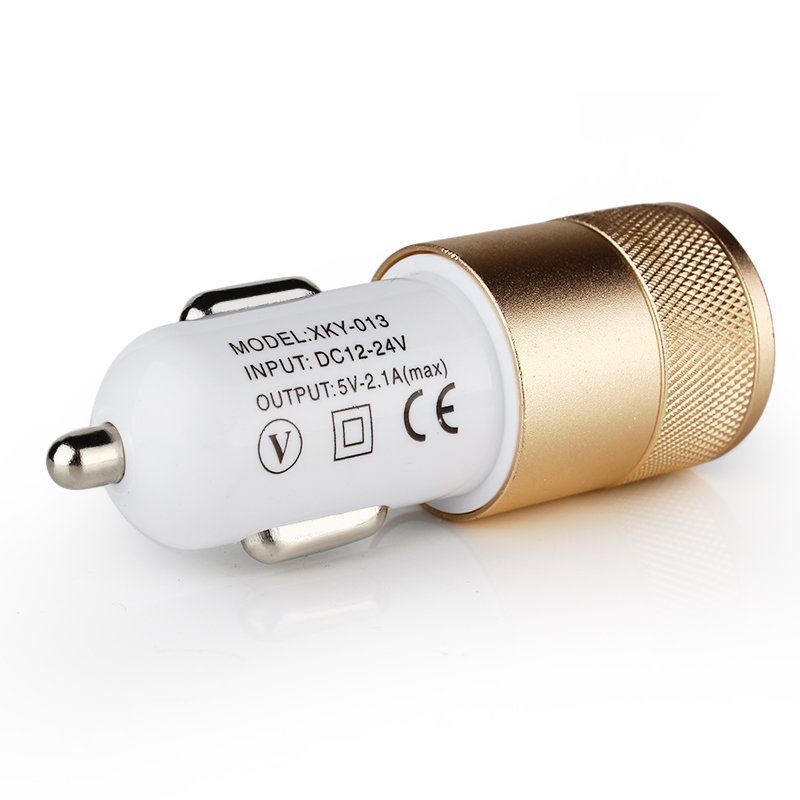 New detector For ipad 2 3 4 5 Dual USB Car Charger 12v 2.1A 1.0A Mini Adapter Aluminum 2-port(China (Mainland))