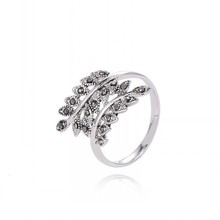 Classical Never Fade Platinum Plated Olive Branch Rings CZ Diamond Personality Ring Jewelry For Women  // AA307658352