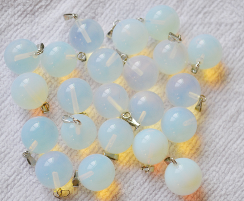 Wholesale 2014 hot sale New opal opalite Natural Stone Charms Pendant round beads14mm 12pcs/lot free shipping(China (Mainland))
