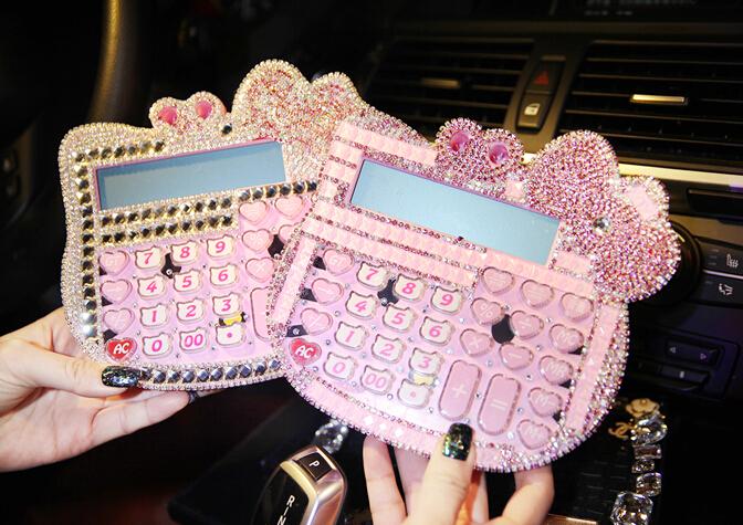 Korea style Cute Luxury Hello Kitty Jelly Crystal Diamond Bling KT Pink Solar calculator counter(China (Mainland))