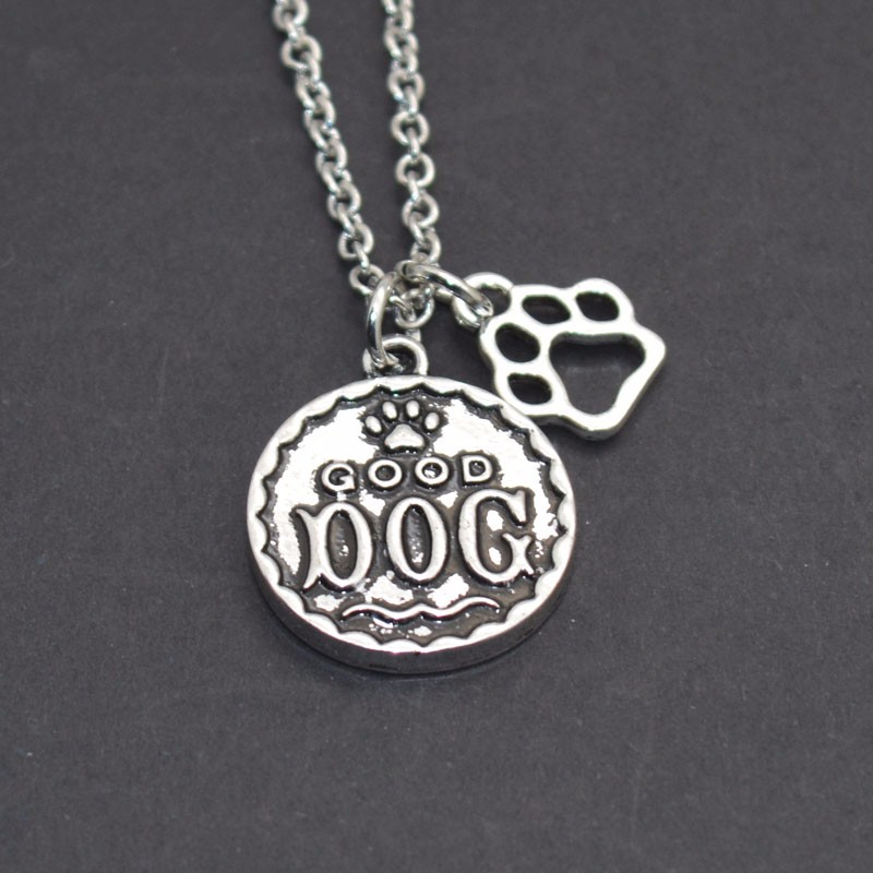 Fashionable Dog Paw Print Necklace People Best Friend Good Dog Pet Memorial Necklace Paw Dog Print Pendant Necklace
