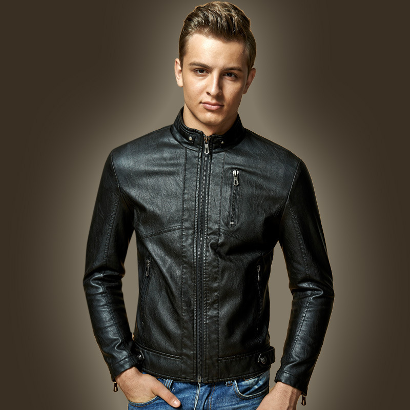 Stand Collar Leather Jacket Men