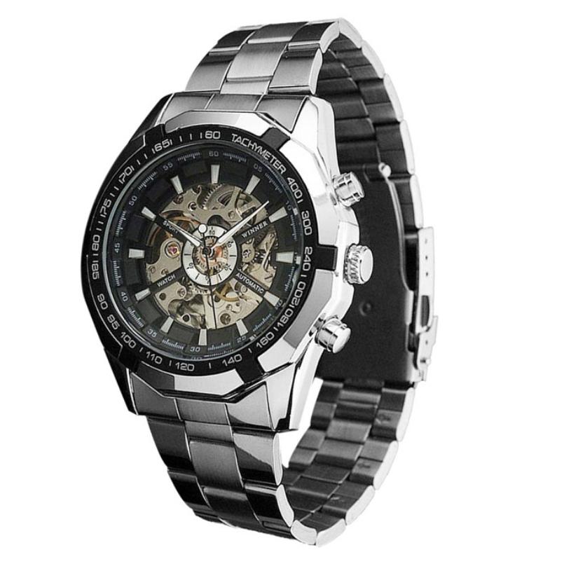 Excellent Quality fashion steel men clock top brand stylish design classic mechanical self wind wrist dress skeleton watch gift(China (Mainland))