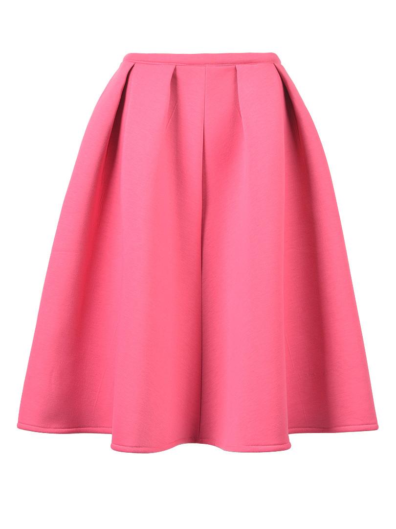 pink midi skater skirt casual summer pink