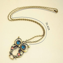 2015 New Fashion Hot Selling Retro Color Block Drill Hollowing Carved Cute Owl Mao Yilian Necklace