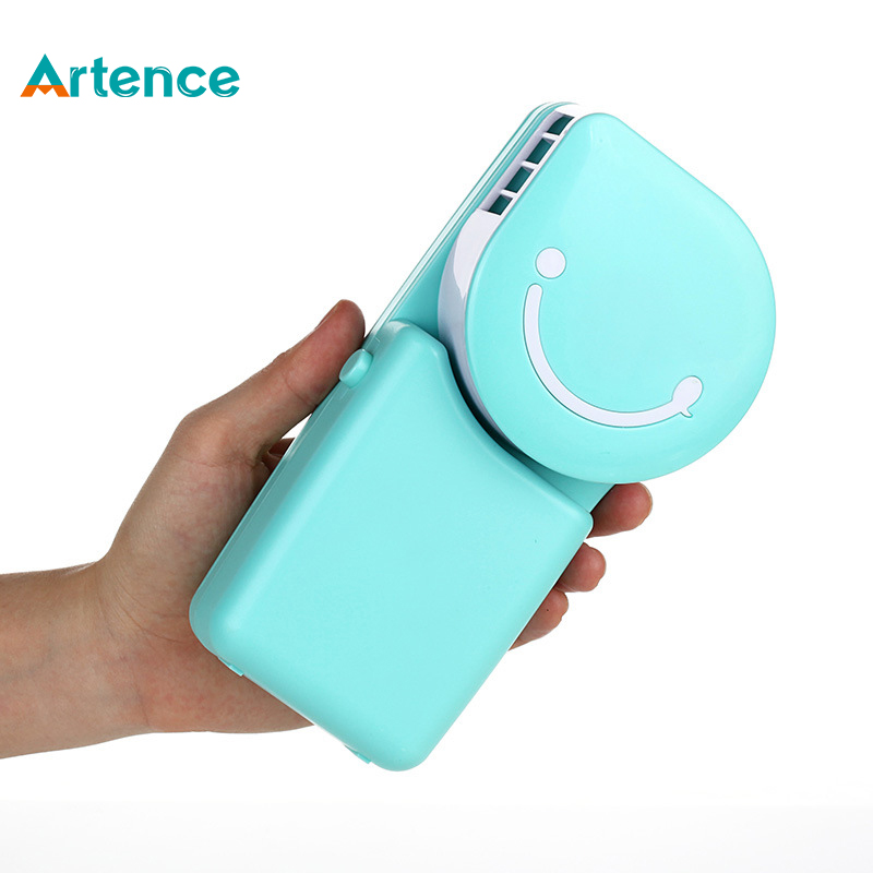 Portable Mini Air Conditioner Fan Smile Face USB Rechargeable Cooling Fan With Lithium Battery Outdoor Travelling Handheld Fan(China (Mainland))