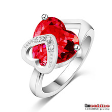 Romantic Christmas Love Gift Female Ring Fashion Accessories Real Platinum Plated Heart Shaped Cut Ruby Ring WX-RI0043