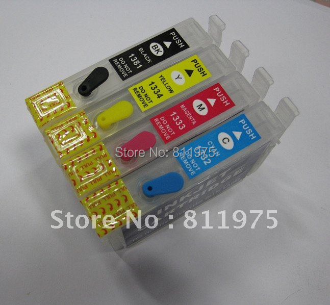 Free Shipping 135 T1351 +T1332 T1333 T1334  refillable ink cartridge for epson  Stylus T25 TX123 TX125 TX133 TX135