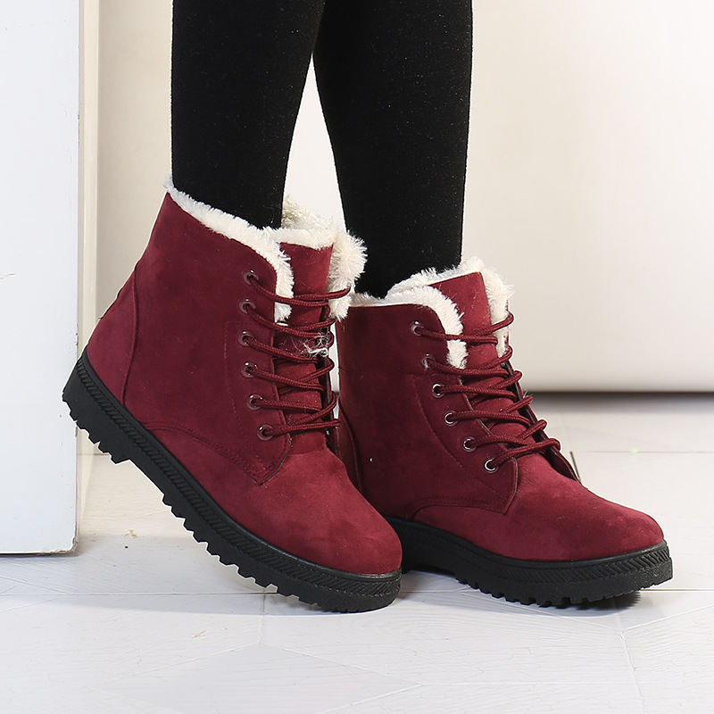 Гаджет  Women Winter Boots Fashion Women Boots Botas Mujer Fur Snow Boots Women Ankle Boot Flat Heels Winter Shoes Warm Snow Shoes None Обувь
