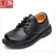 2016 New Children Leather Shoes For Boys Dress Shoes Black Flat Dancing Lace Up PU Genuine Leather School Students Shoes(China (Mainland))