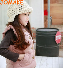 Retail Autumn And Winter Korean Solid Single Breasted Thicken Cotton Ruffle Collar Children Clothes Girls Casual