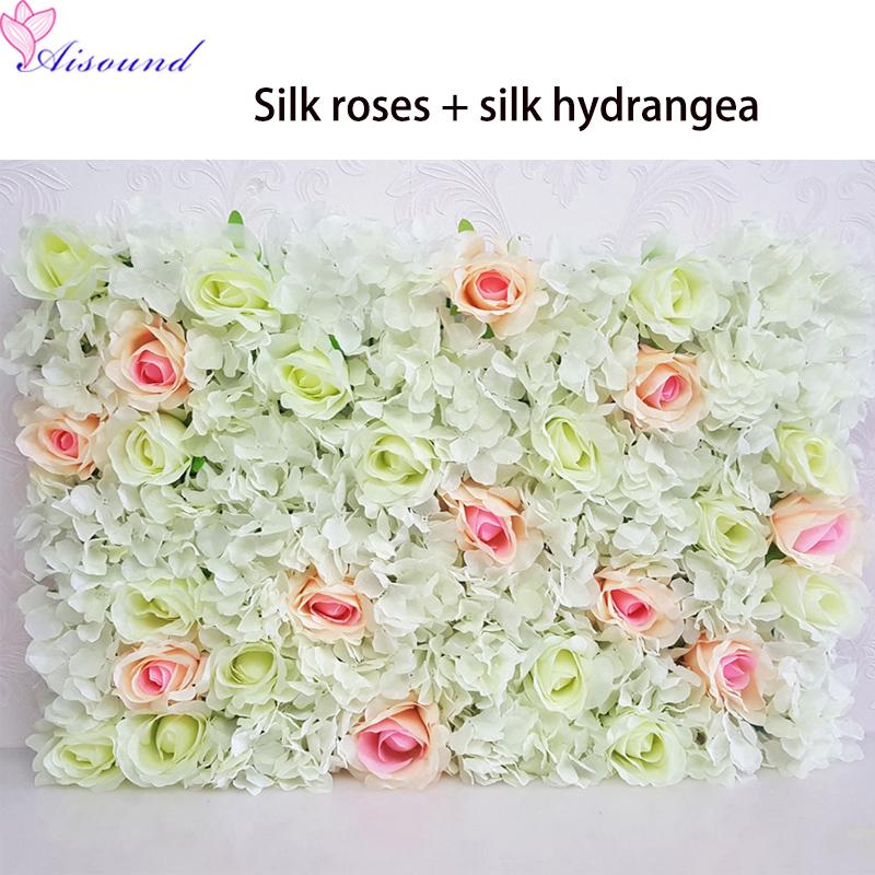 Rose hydrangea flower wall