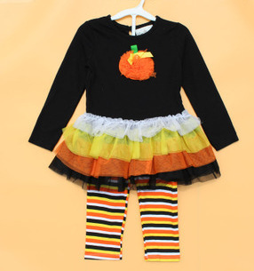 New 2015 Fashion Autumn children's Girls Boutique Outfits Sets For 2PC Halloween long-sleeved cotton Tutu Dress+Ruffle Pants(China (Mainland))