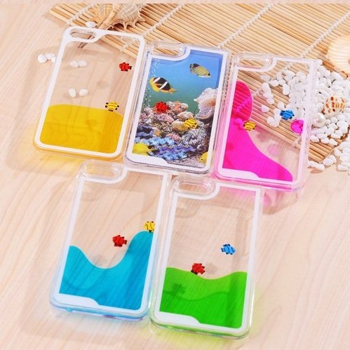 Newest Arrival Fish in Sea world Case For Apple iphone 5 5S 5G Flowing Liquor Amazing !(China (Mainland))