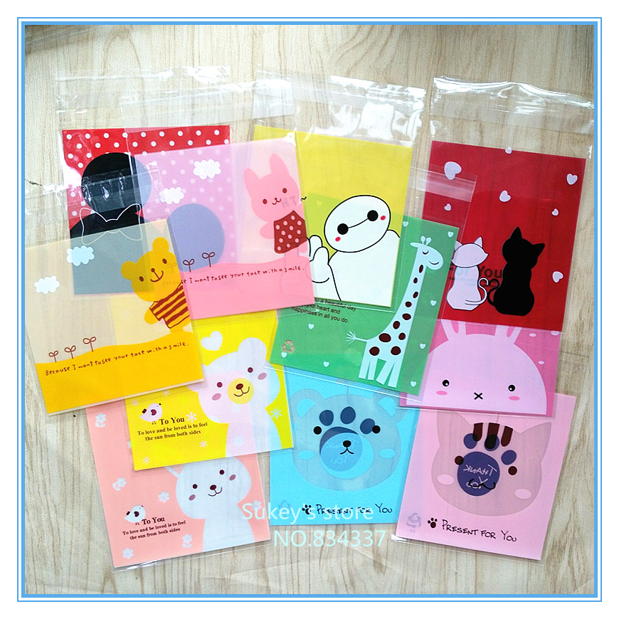 ON SALE 100pcs/lot Mixed style Cute cartoon animals plastic bags cookie packaging bag 10x10cm self adhesive bags free shipping(China (Mainland))