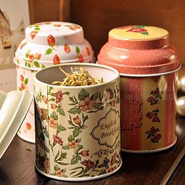 4 pcs/Lot Flowers design tin tea box Tea canister Candy jars food storage Girl favor zakka gift decoration Ikea households 8710(China (Mainland))