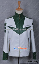 Space Battleship Yamato Costume Green Leather Jacket H008(China (Mainland))