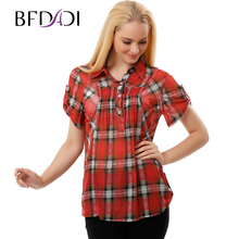BFDADI Женщины Блузка 2017 Рубашки Вскользь Плед женщины clothing Летние Тонкие сетки ткань Большой размер 3262(China (Mainland))