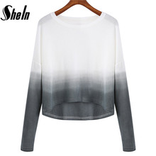 SheIn 2016 Brand Ladies Jumpers Pullovers Women's Simple Long Sleeve Round Neck Grey White Ombre Color Block Crop Sweater(China (Mainland))