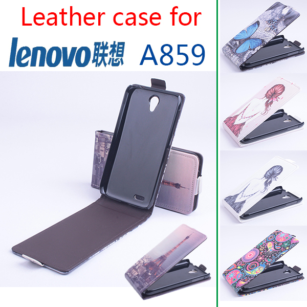 Painted Fashion High Quality New Original Lenovo A859 Vertical Leather Case Flip Cover for Lenovo A 859 Case Phone Cover(China (Mainland))