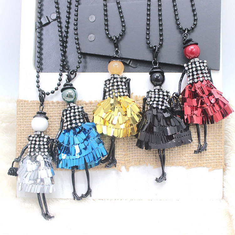 Fashion Doll Necklace Women 2016 ! Color Dress Doll Necklace Jewelry Female Gifts Free Shipping Wholesaler Accessories NS322(China (Mainland))