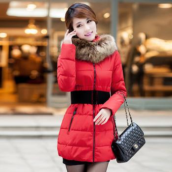 Куртка хлопок - мягкий длинная, большие мех воротник ватные женское средний - приталенный пуховик осень зима женское