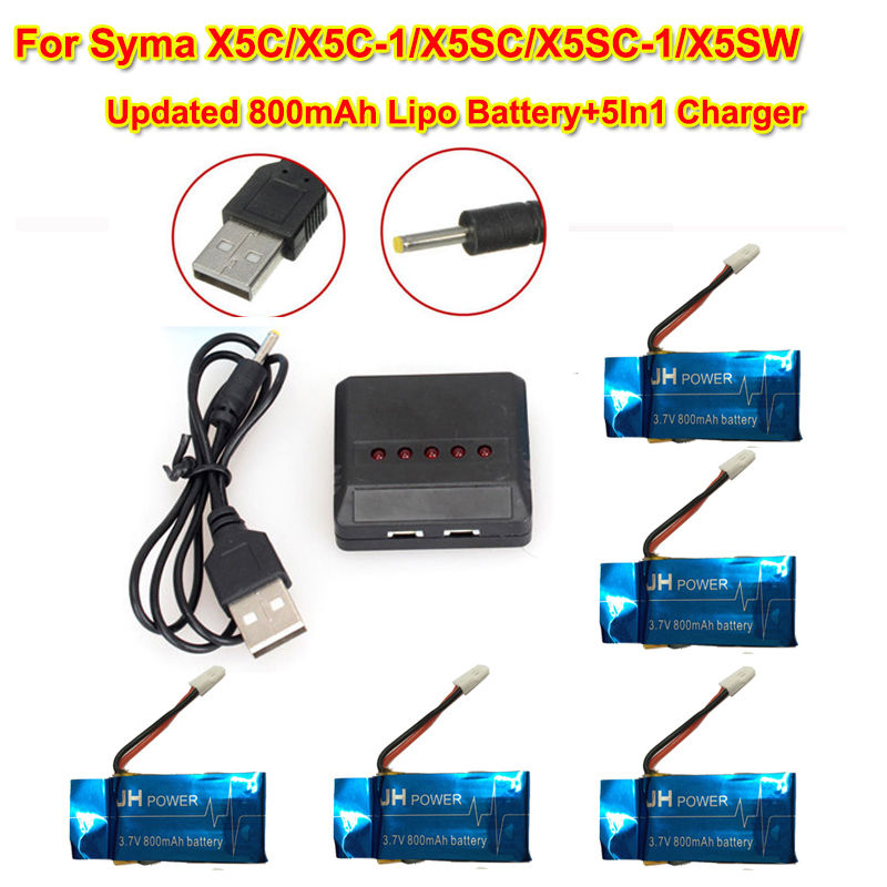 Free Shipping!5pcs/lot 3.7V Upgrade Blue 800mAh Battery+5in1 Charger For Syma X5C-1 X5SW Quadcopter<br><br>Aliexpress