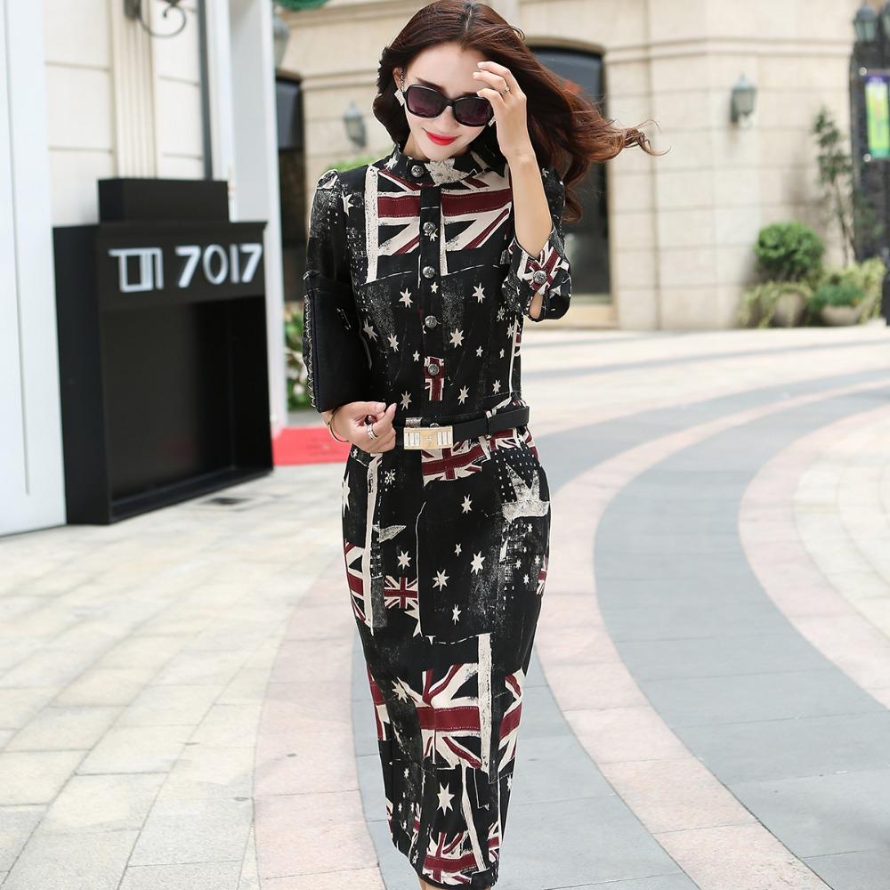 2015 Fall Winter Fashion Vintage Print Vestidos Casual Black Lady Denim Dresses Hot Sale Bodycon Women Mid-calf Dress Plus Size(China (Mainland))