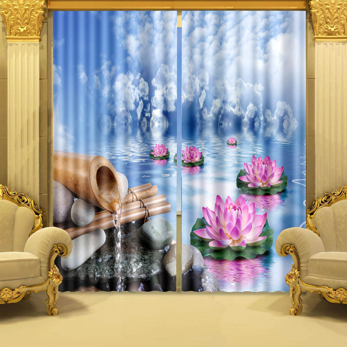 Living Room Curtain Set 3D Pologram Effect Wonderful Lotus On Water Polyester