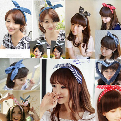 Cute Bunny Ear Elastic Hair Ties Ropes Camellias/Spots Decorated Rubber Bands Fashion Hair Accessories Headwear(China (Mainland))