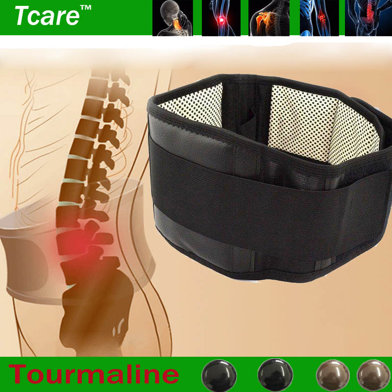 Tcare Adjustable Tourmaline Self heating Magnetic Therapy Waist Support Belt Lumbar Back Waist Brace Double Band Health Care(China (Mainland))
