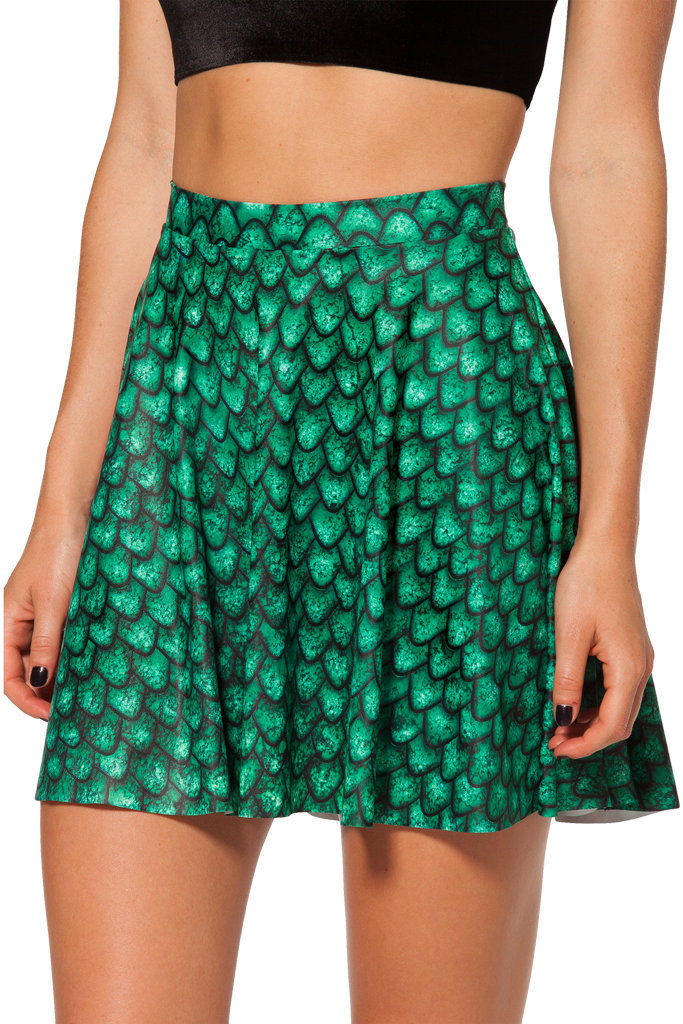 Womens Skirt 2015 Spring New Green Printed Elastic Waist Pleated Ladies Vintage Casual Short Mini S M L - Fashion World's store