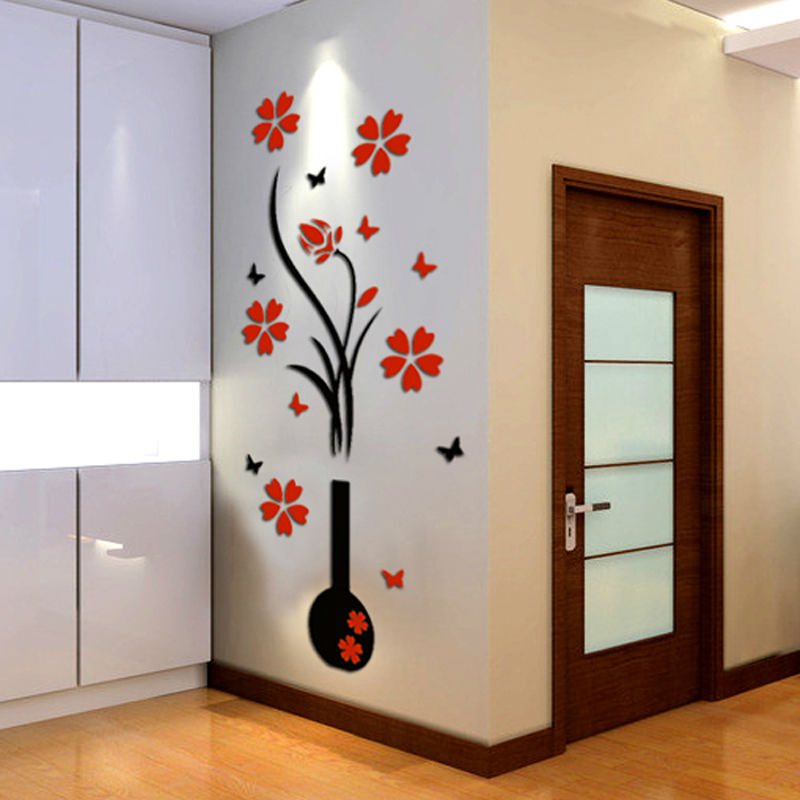 Vase 3d crystal three-dimensional wall stickers tv background entranceway home decoration - FanGuo International Trade Co., Ltd store