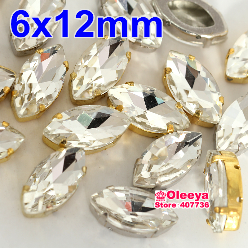 72pcs/lot 6x12mm Sew On Stone with claw setting Clear Crystal Horse eyes Sew-on Claw Rhinestone For Wedding Decoration Y1847(China (Mainland))