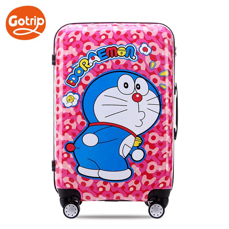 Women Fashion Travel Suitcase Doraemon Cartoon Cat Luggage ABS+PC Universal Wheels Trolley Luggage Bag 20 24 Rolling Luggage<br><br>Aliexpress