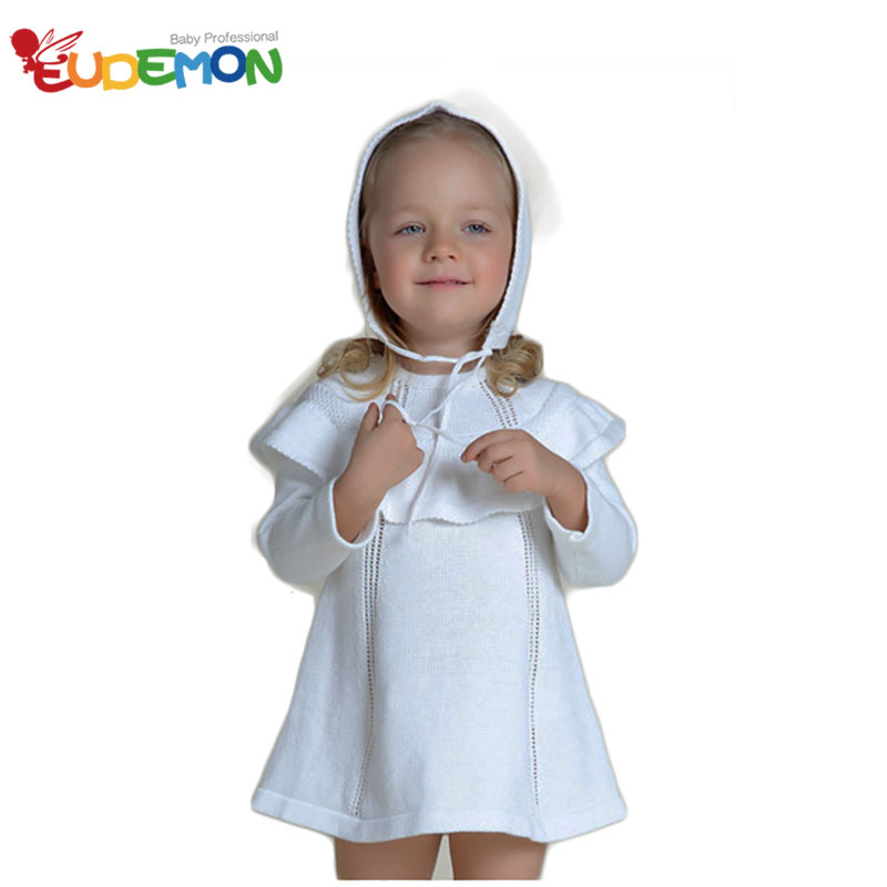 [Eudemon] INS Fashion Sweater Dress White Long Sleeves Girls Spring Winter Girls Sweater With Knitted Hat Baby Girl Winter Dress(China (Mainland))