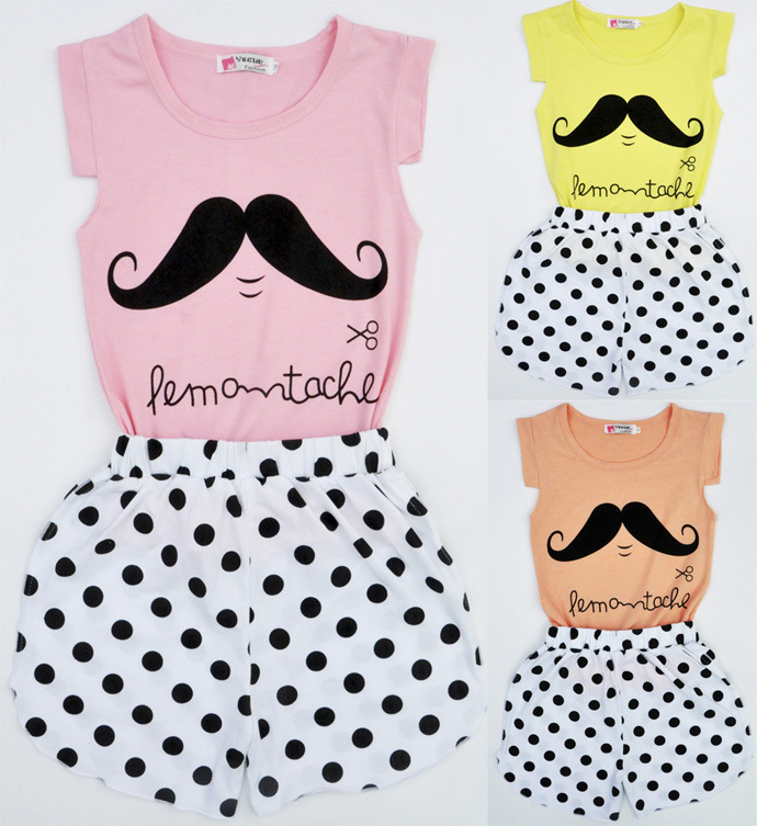 2015 hot sale girls clothing sets Polka Dot girls summer clothes high quality Stylish family clothing sets vetement enfants girl(China (Mainland))